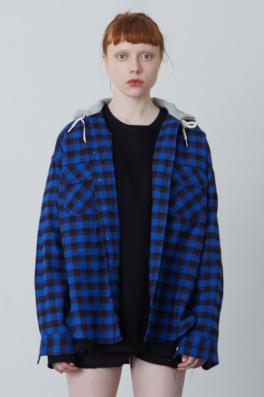 FW17 HOOD SHIRT (BLACK & BLUE)