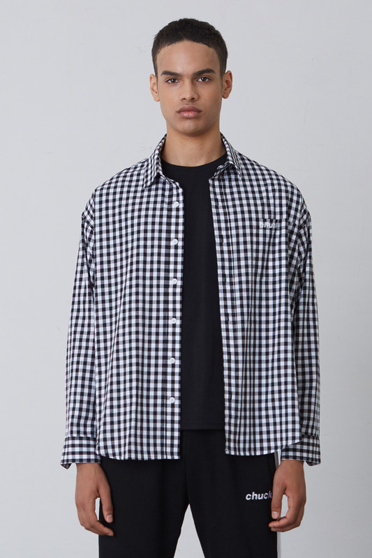 FW17 OVER FIT GINGHAM CHECK SHIRT 3 (BLACK)