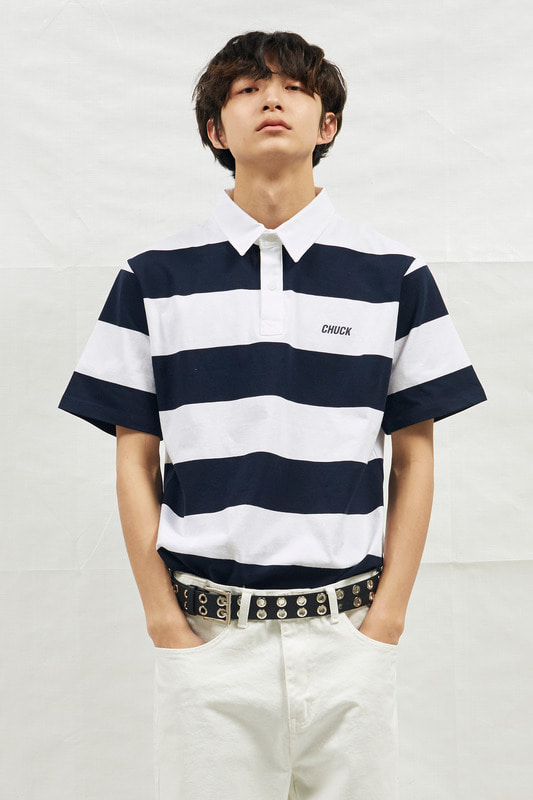 18SS CHUCK RUGBY H-SLEEVE SHIRT (WHITE&NAVY)