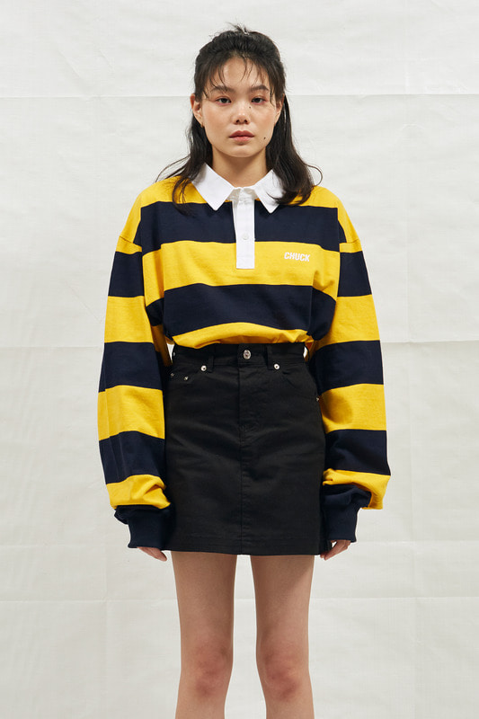 18SS CHUCK RUGBY L-SLEEVE SHIRT (NAVY&YELLOW)