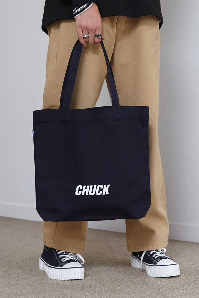 CHUCK LOGO CANVAS SHOPPER BAG (NAVY)