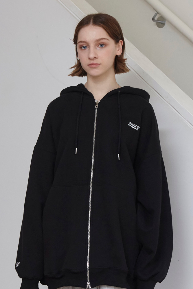 18FW CHUCK LOGO LONG HOOD ZIP UP (BLACK)