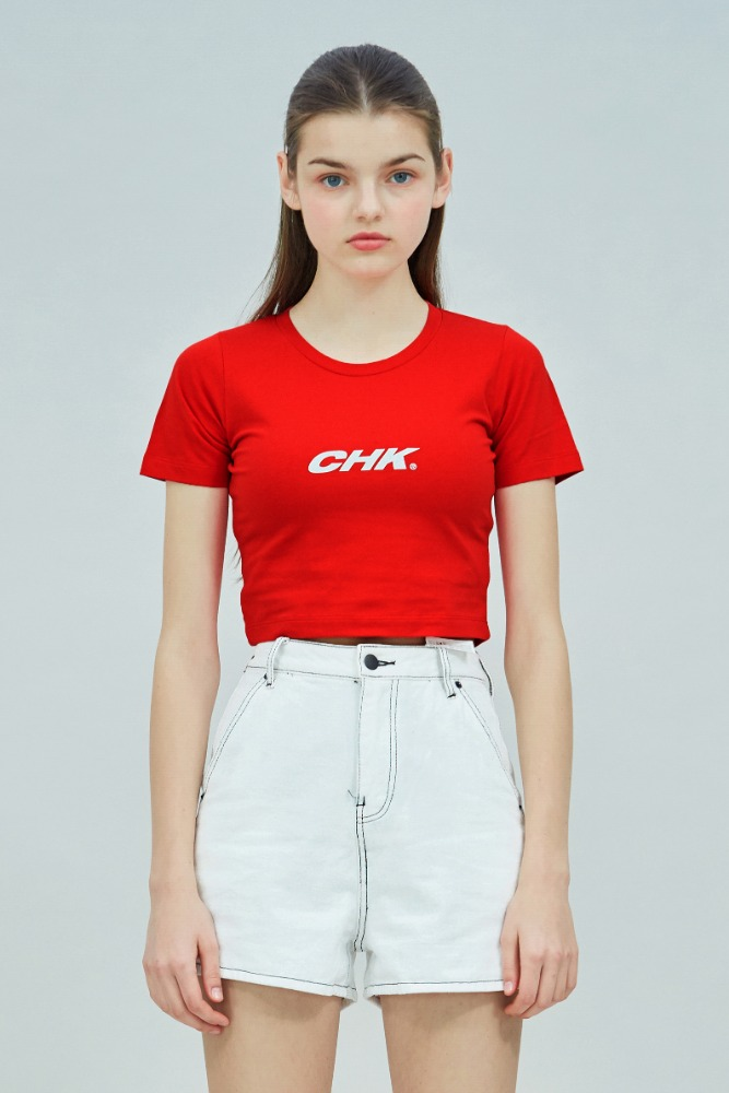19 SUMMER CHK LOGO CROP T-SHIRT (RED)