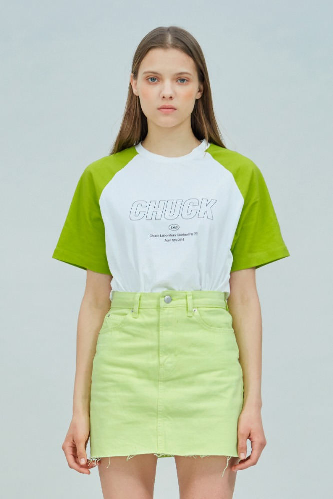 19 SUMMER CHUCKLAB LOGO RAGLAN T-SHIRT (WHITE-LIME)