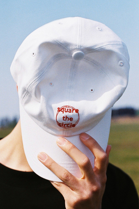 SQUARE THE CIRCLE BASEBALL CAP - WHITE/ORANGE