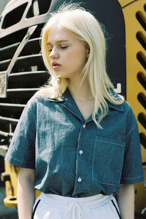 DENIM HALF SLEEVE SHIRT - DARK DENIM
