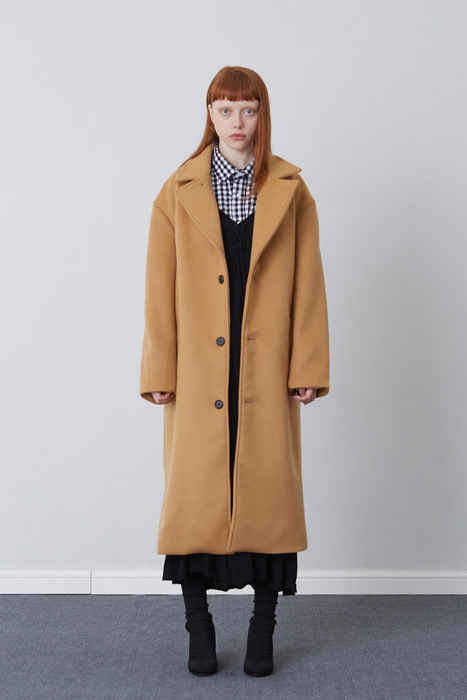 FW17 OVER FIT LONG COAT (CAMEL)