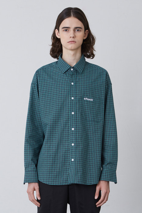 FW17 OVER FIT CHECK SHIRT (GREEN)