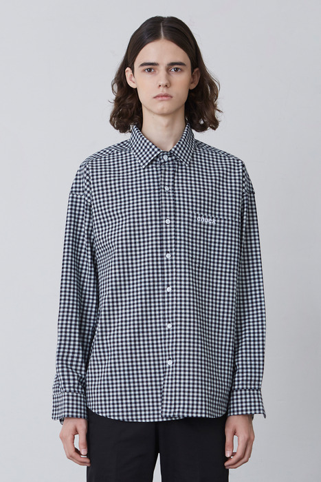 FW17 OVER FIT GINGHAM CHECK SHIRT 2 (NAVY)