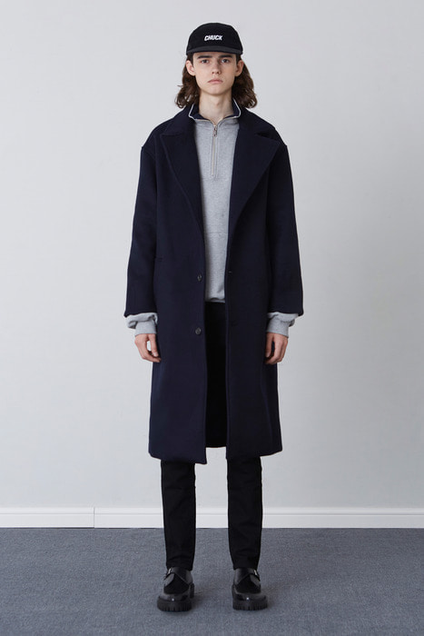 FW17 OVER FIT LONG COAT (NAVY)