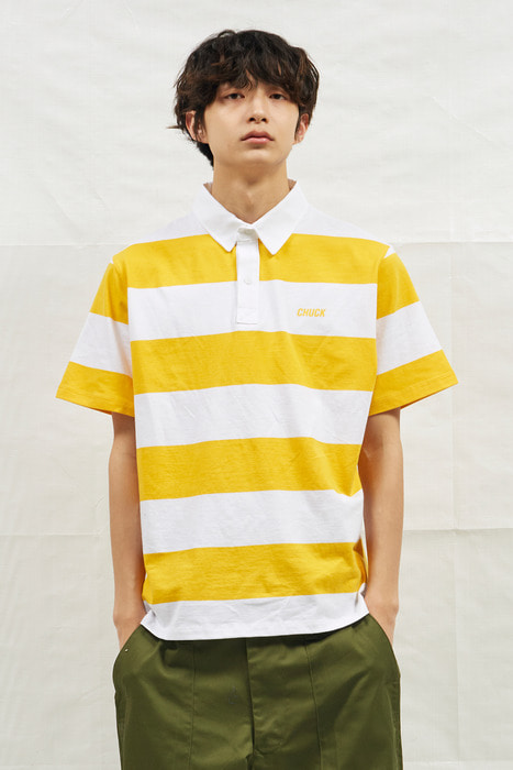 18SS CHUCK RUGBY H-SLEEVE SHIRT (WHITE&YELLOW)