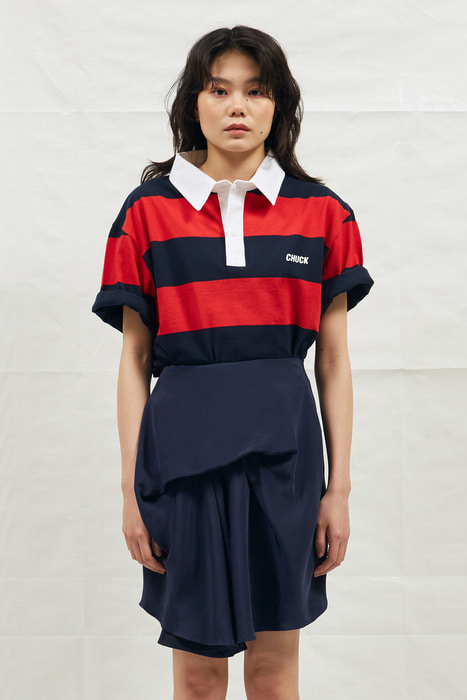 18SS CHUCK RUGBY H-SLEEVE SHIRT (NAVY&RED)