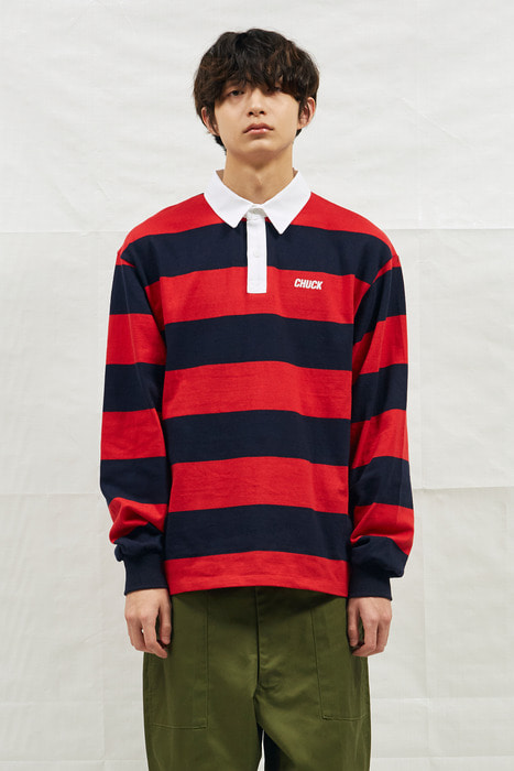 18SS CHUCK RUGBY L-SLEEVE SHIRT (NAVY&RED)