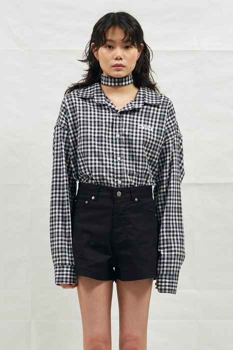 18SS CHUCK LOGO CHECK SHIRT (NAVY)