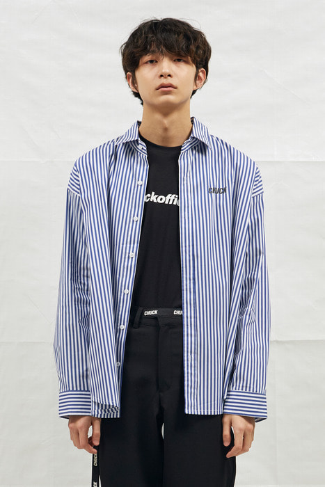 18SS CHUCK LOGO STRIPE SHIRT (BLUE)