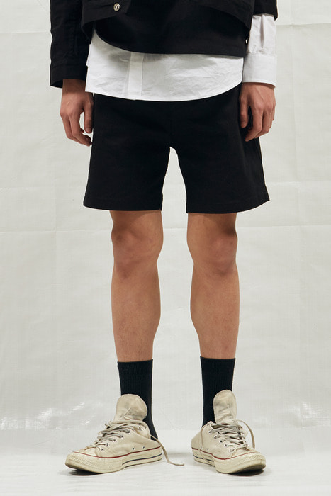 18SS M BLACK DENIM SHORT PANTS (BLACK)