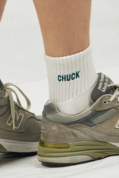 CHUCK LOGO PATCH SOCKS (WHITE-GREEN)