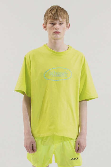 18SS CHUCK OVAL LOGO T-SHIRT (NEON YELLOW)