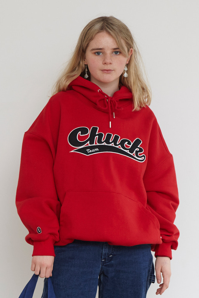 18FW CHUCK TEAM LOGO HOODIE (RED)