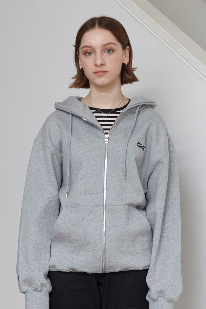 18FW CHUCK LOGO HOOD ZIP UP (GRAY)