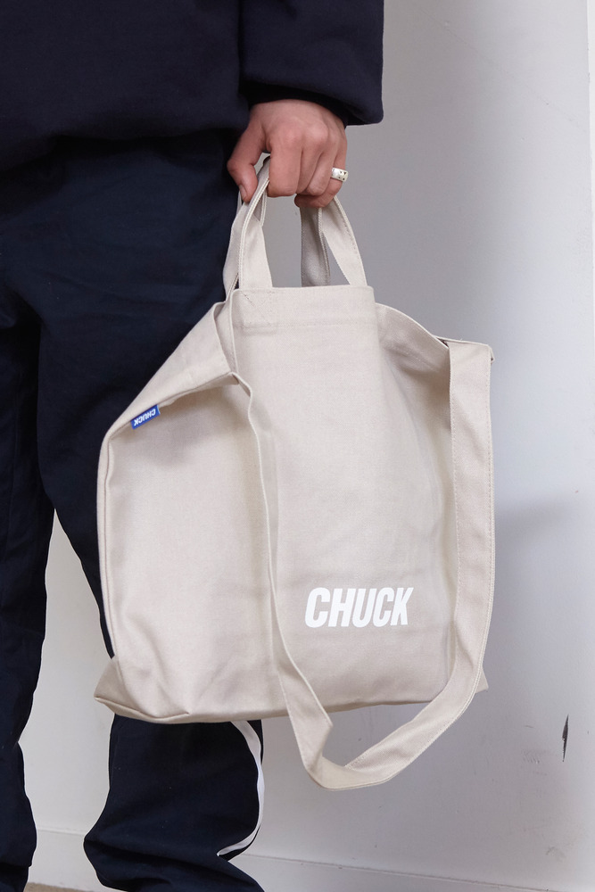 CHUCK LOGO CANVAS 2WAY BAG (BEIGE)