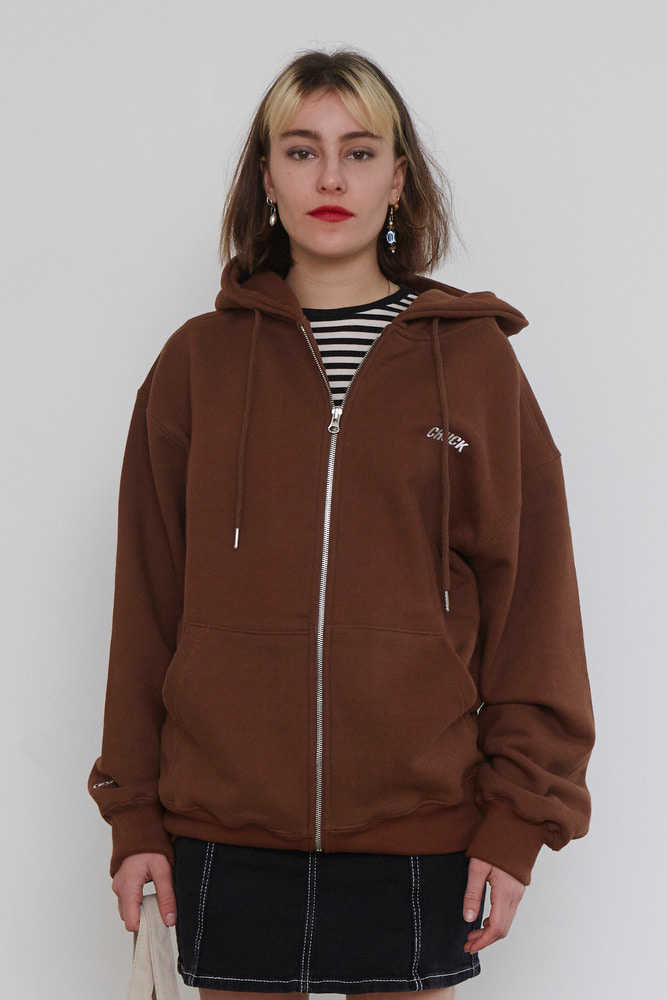 18FW CHUCK LOGO HOOD ZIP UP (BROWN)