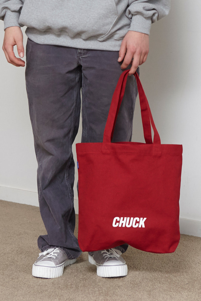 CHUCK LOGO CANVAS SHOPPER BAG (RED)