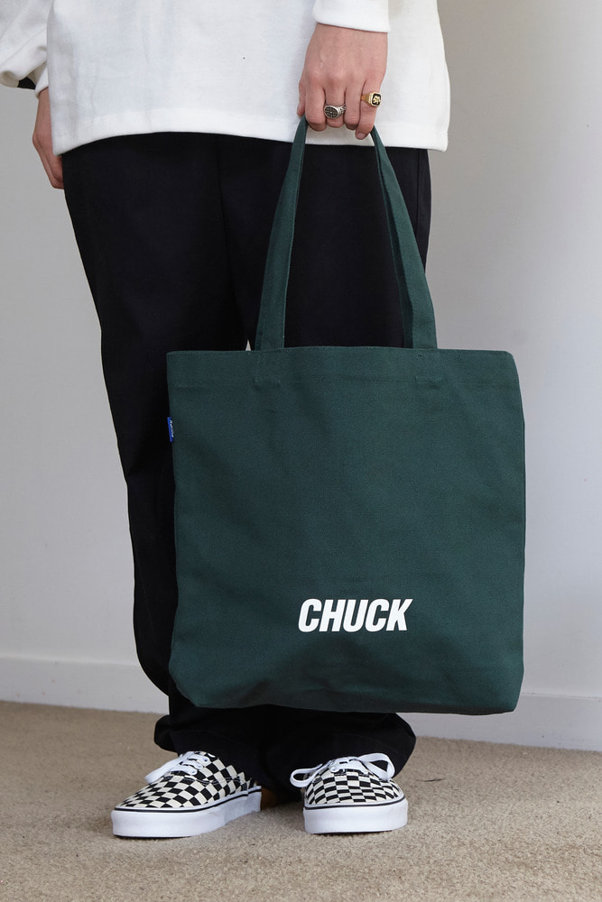 CHUCK LOGO CANVAS SHOPPER BAG (GREEN)