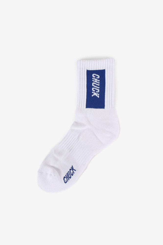 CHUCK BOX LOGO SOCKS (WHITE-BLUE)