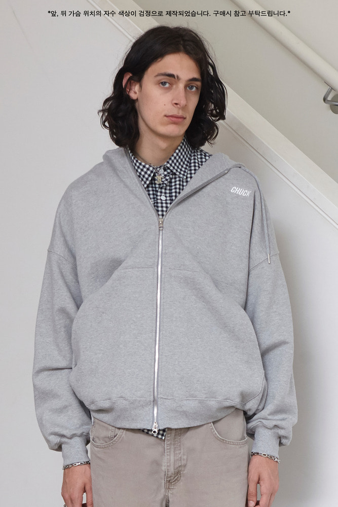 18FW CHUCK LOGO LONG HOOD ZIP UP (GRAY)