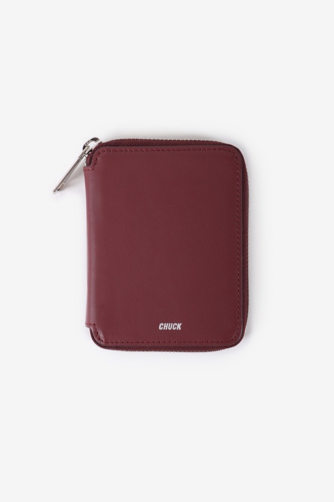 CHUCK LEATHER ZIPPER WALLET (WINE)