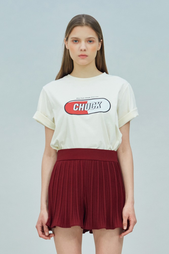 19 SUMMER CHUCK SIGNATURE LOGO T-SHIRT (CREAM)