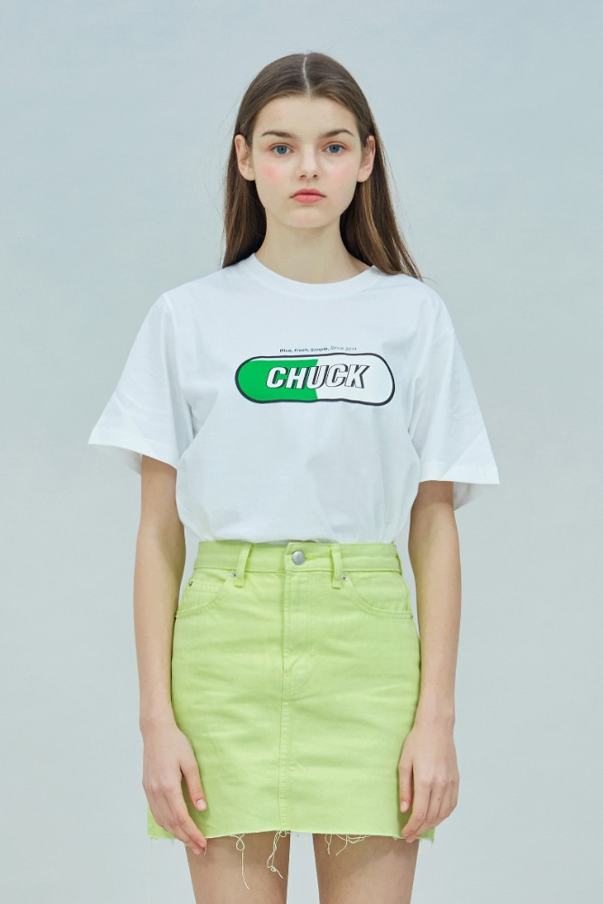 19 SUMMER CHUCK SIGNATURE LOGO T-SHIRT (WHITE-NEON)