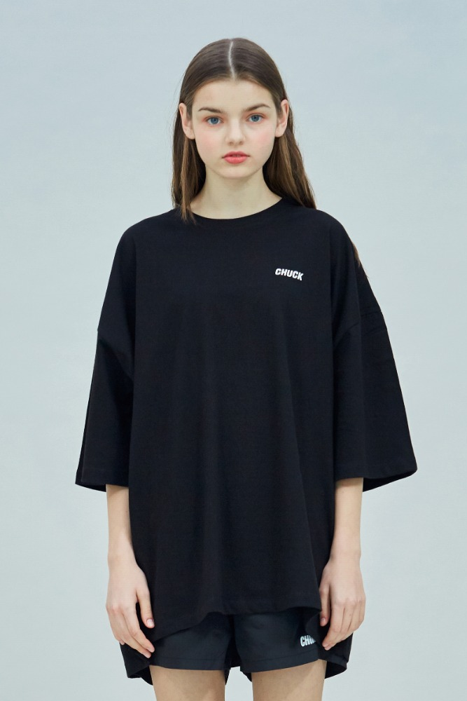 19 SUMMER CHUCK LOGO SUPER OVERSIZE T-SHIRT (BLACK)