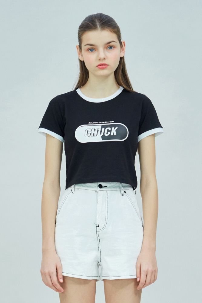 19 SUMMER CHUCK SIGNATURE LOGO CROP T-SHIRT (BLACK)