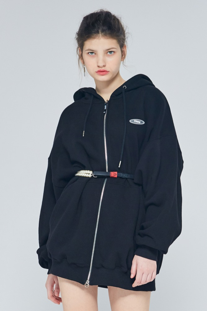 [블프한정] 19FW CHUCK RUBBER LABEL LONG HOOD ZIPUP (BLACK)