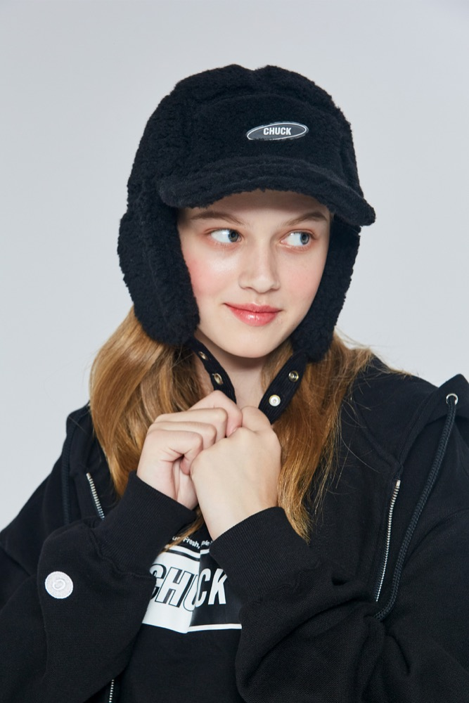 19FW CHUCK SHERPA FLEECE TROOPER CAP (BLACK)