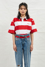 18SS CHUCK RUGBY H-SLEEVE SHIRT (WHITE&RED)