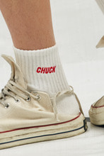 CHUCK LOGO PATCH SOCKS (WHITE-RED)