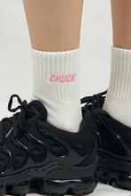 CHUCK LOGO PATCH SOCKS (WHITE-PINK)