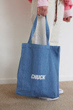 CHUCK LOGO DENIM TOTE BAG (SKY)