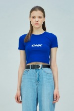 19 SUMMER CHK LOGO CROP T-SHIRT (BLUE)