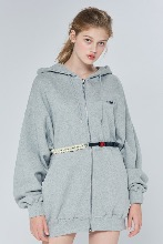 19FW CHUCK RUBBER LABEL LONG HOOD ZIPUP (GRAY)